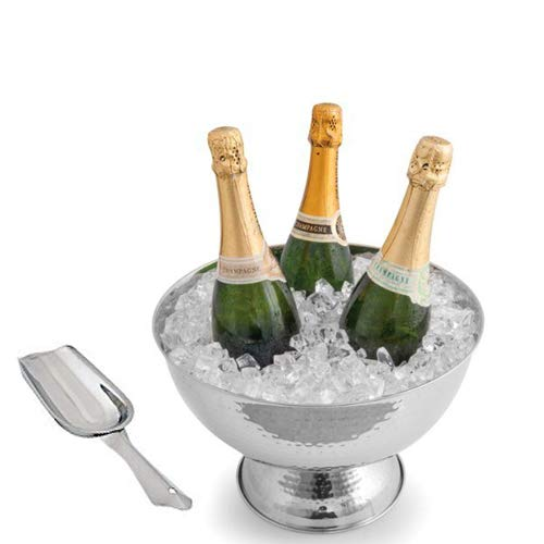 Kosma Stainless Steel Punch Bowl | Champagne Beer Wine Cooler - Hammered Finish with