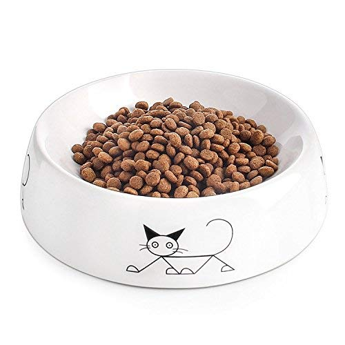 (YHY Ceramic Shallow Cat Food Bowl, Wide Cat Food Dish, Non Slip Cat Feeding Bowl with Stylish Pattern, 8 oz, White)