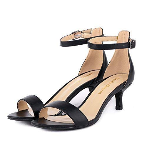 Women's Heeled Sandals Ankle Strap Low High Heels 5CM Open ToeLow Dress Sandals Bridal Party Shoes Black Size 8.5
