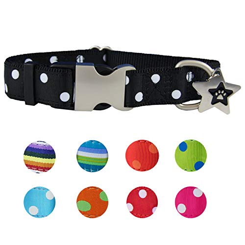 Cute Dog Collars for Small Dogs | Small Dog Collar - Pink, Red, Spots for Female & Male | Soft Nylon Dog Ribbon Collar - Metal Buckle - Adjustable Size - Free Dog ID Tag | Paw Dog Collar (Molly)
