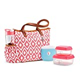 Fit & Fresh Scottsboro Insulated Lunch Bag Kit with BPA-Free Containers and Water Bottle, Coral Painted Diamonds