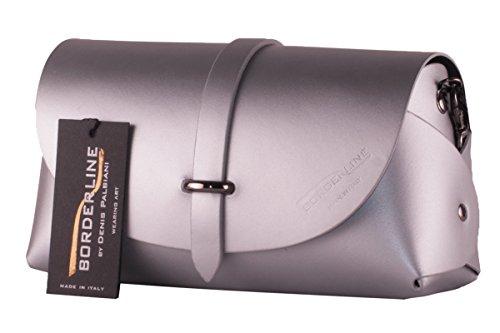 BORDERLINE - 100% Made in Italy - Embrague de Cuero Real - EVELINA G. Plata
