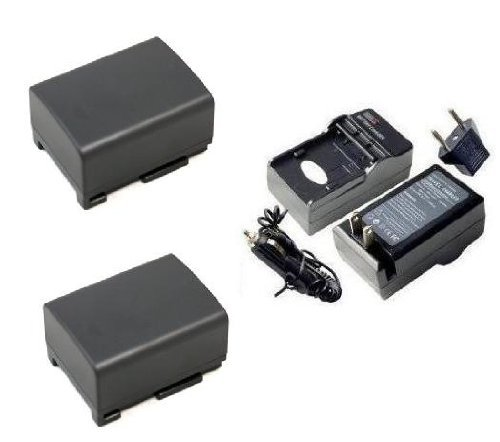 (SAVEON Battery Kit includes Two Spare Replacement Canon BP808 / BP819 Batteries + Charger For The Canon FS200, FS100, FS22, FS21, FS11, FS10 Flash Memory Camcorders)