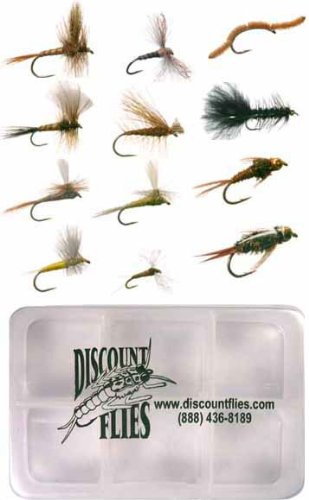 Western Fly Collection - 12 Trout Flies + Fly Box (Pale Morning Dun Parachute)