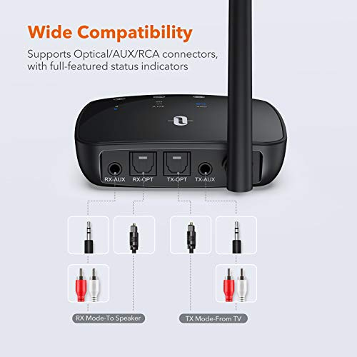 TaoTronics Long Range Bluetooth 5.0 Transmitter Receiver for TV, Wireless Audio Adapter for Home Stereos, Low Latency, HD, Optical Digital, Aux & RCA, Pairs Two Headphones