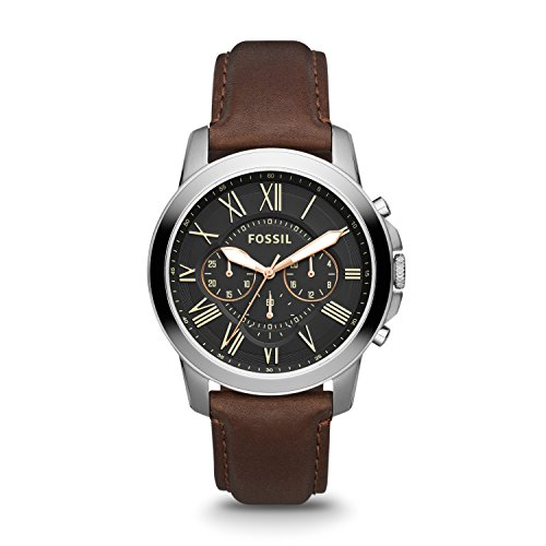 Fossil Men's Grant Quartz Stainless Steel and leather Dress Watch Color: Black, Brown (Model: FS4813IE) from Fossil