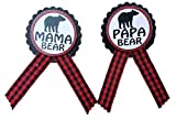 Mama Bear & Papa Bear Baby Shower Pins Daddy to Be Pin Buffalo Plaid Gender Reveal, Red & Black Pin, Baby Sprinkle