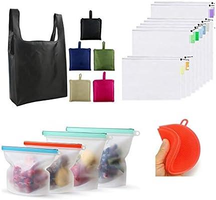 Juego de 18 bolsas reutilizables 4 bolsas reutilizables de ...