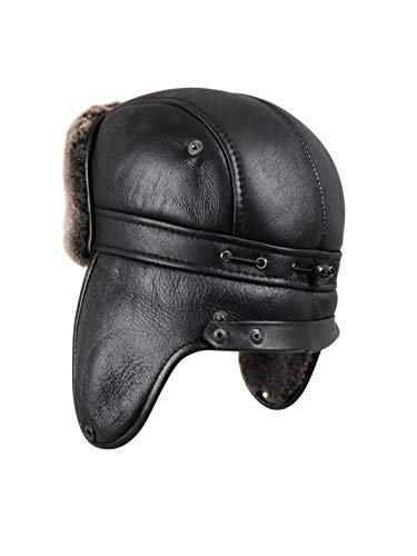 63ec4e2bd36 Zavelio Men s Shearling Sheepskin Aviator Russian Ushanka with Snap Hat X- Large Black