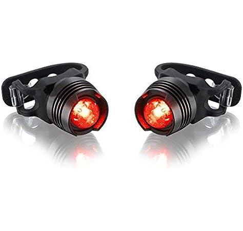 Bicicleta trasera con luz trasera de aluminio Luz trasera impermeable para bicicleta LED - Compatible con todas las bicicletas, triciclos, scooters-2pack: Amazon.es: Deportes y aire libre