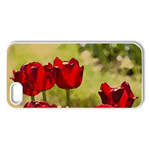 Red Tulips Watercolor style Cover iPhone 5 and 5S Case (Flowers Watercolor style Cover iPhone 5 and 5S Case)