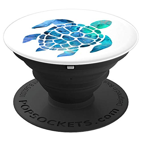 Sea Turtle Pop Socket Blue And Green Watercolor On White - PopSockets Grip and Stand for Phones and Tablets