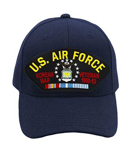 Patchtown US Air Force - Korean War Veteran Hat/Ballcap Adjustable One Size Fits Most (Multiple Colors & Styles) (Navy Blue, Add American Flag)
