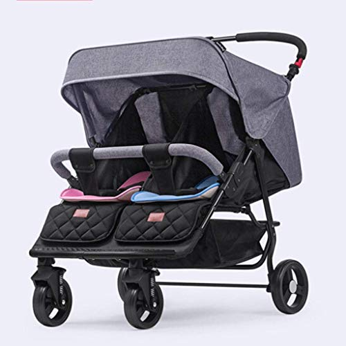 DXDZQ Double Toddler & Baby Stroller, Multiple Seating Configurations, Reclining Seats, Lightweight Frame, Large Storage Basket (Color : Gray)