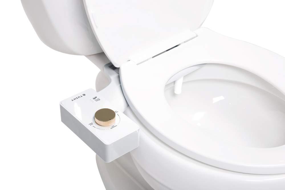 White//Gold Knob Modern Sleek Design Fresh Clean Water Sprayer TUSHY Classic Bidet Toilet Attachment Non-Electric Self Cleaning Nozzle