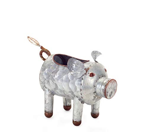 Galvanized Metal Pig Planter, 5