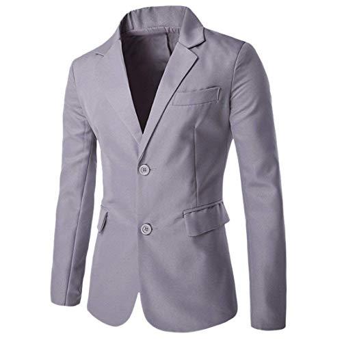 Décontracté Costume Élégantes Travail Vestes Slim Solid Grau Revers Veste Chic Boutons Fit Deux R4RZSPY8q