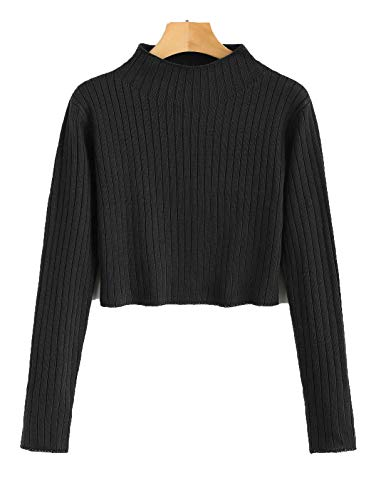 ZAFUL Womens' Long Sleeve Sweater Ribbed Mock Neck Knit Pullover Tops (Black, S)