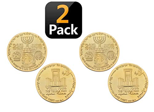 - 2 Pack Donald Trump Gold Coin, Collectable Gold Plated Commemorative Coin Jewish Temple Jerusalem Israel
