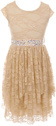 - BNY Corner Little Girl Short Sleeve Floral Lace Ruffles Holiday Party Flower Girl Dress Champagne 4 JKS 2095