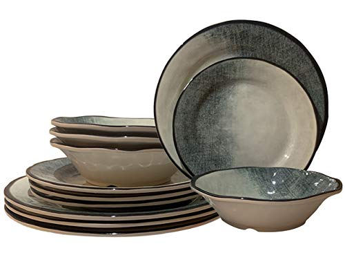GTHome Melamine 12 Piece Dinnerware Set – Dishes Set Suitable Indoors and Outdoors, Service for 4,Lightweight
