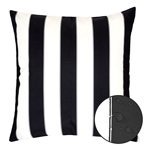 White Stripe Throw Pillow - Homey Cozy Outdoor Throw Pillow Cover, Classic Stripe Black Large Pillow Cushion Water/UV Fade/Stain-Resistance For Patio Lawn Couch Sofa Lounge 20x20, Cover Only