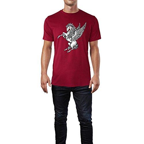 SINUS ART® Viktorianischer Pegasus im Tattoo Stil Herren T-Shirts in Independence Rot Fun Shirt mit tollen Aufdruck