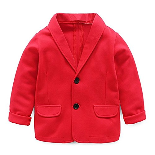 Baby Kid Little Boy Casual Fashion Blazers Jackets Coat Suit Outerwear 4-5 Years Red