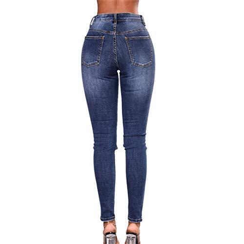Comodi Tinta Matita baibao Skinny A Z Ricamati Alta Jeans Blue Unita Con Vita Slim Femme Pantaloni xYAxPwqO