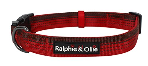 - Ralphie & Ollie Reflective Dog Collar, Soft Padded Adjustable Pet Collars for Dogs,Sizes-MEDIUM,LARGE,Quick Release Buckle,Breathable Nylon,Matching Leash Sold Seperately (MEDIUM, RED)