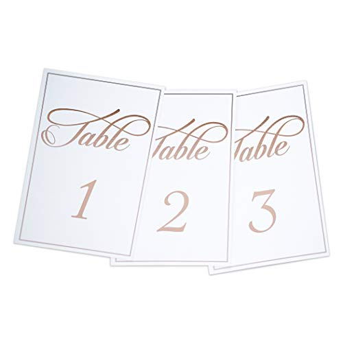 Timeless Moments Rose Gold Elegant Wedding Table Numbers Set, Double-Sided 4x6 Cards Include Tables 1-25, Mr, Mrs, Head Table, Gifts, ♡ & Reserved-Birthdays, Banquets, Corporate Events & Parties