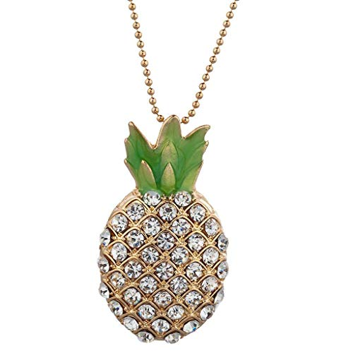 (Lux Accessories Gold Tone Pave Stone Pineapple Tropical Fruit Pendant Necklace)