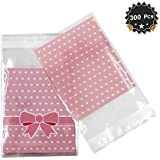 Christmas Cookie Treat Bags Frosted Cellophane Plastic Cookie Bakery Candy Treat Gift Bags for Party Gift Supplies(3.9in 3.9in) EASTiii 300 Pieces Self Adhesive Cookie Bags Candy Bags