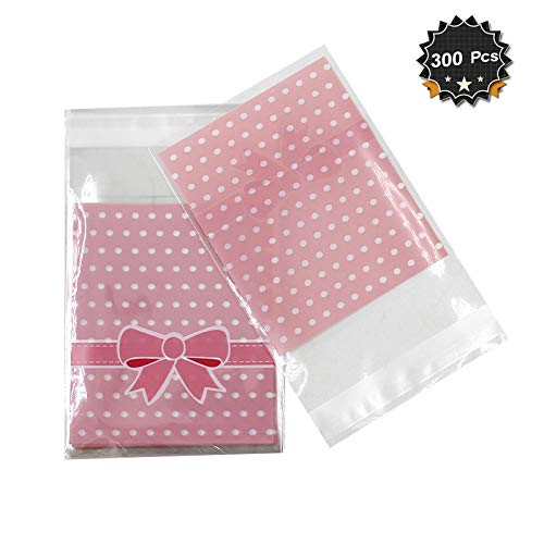 - 300 Pcs 3.2 x 3.8 inches Cute Self-adhesive Gift Food Packing Bags Small Biscuit Bags Candy Bag OPP Bag Package Supplies (Pink)