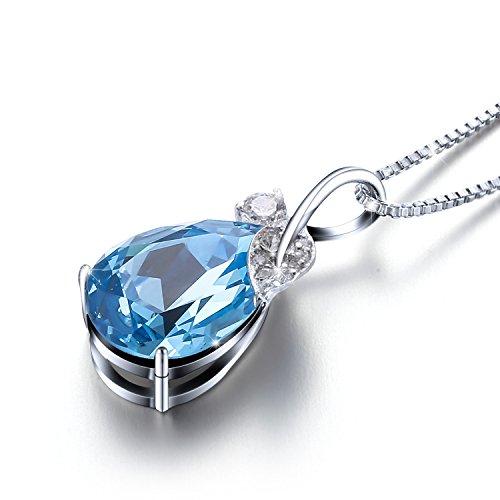 """Sivery """"en forme de larme d'ange"""" Collier Pendentif Bijoux avec cristaux de Swarovski Bleu, cadeaux de St Valentin"""