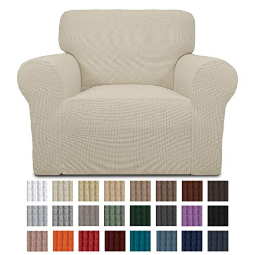 Easy-Going Stretch Chair Sofa Slipcover 1-Piece Couch Sofa Cover Furniture Protector Soft with Elastic Bottom for Kids. Spandex Jacquard Fabric Small Checks(Chair,Ivory