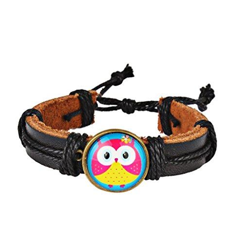 DENER Leather Adjustable Halloween Simple Retro DIY Woven Color Cute Owl Hemp Rope Braided Accessories Bangle Bracelet (B) (Owl Hemp)