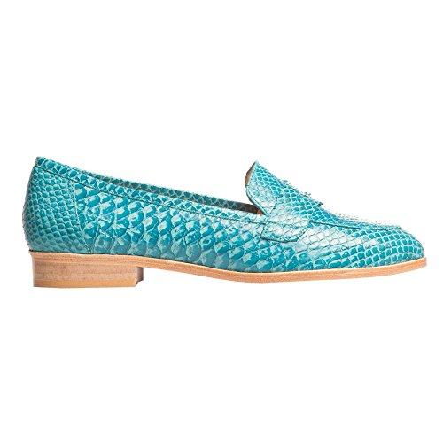 Turquesa HEEL Loafer de THE serpiente PINK turquesa piel q8OnvC5