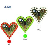 WHDTS 3-Set Heart Shape LED Flashing Light DIY Kit with PCB DC 4-6V Red Green White Color for Soldering Kit Practice Learning Electronics