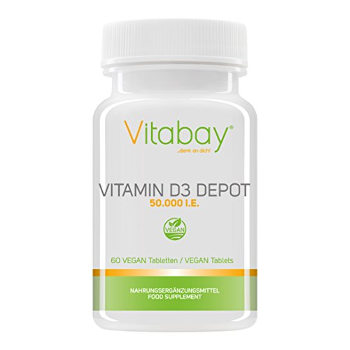 Vitamin D3 Depot 50.000 I.E. Nur eine Vegan Tablette / 50 Tage - Vegane Tabletten (60 vegane Tabletten)