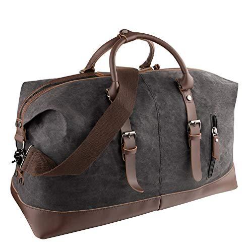 GENESS Große Reisetaschen, Leder Wochenend Tasche, Unisex Vintage Handgepäck Seesack, Vintage Handtasche Sporttasche, Segeltuch Wasserdicht Reisegepäck Schultertasche Umhängetasche (Schwarz)