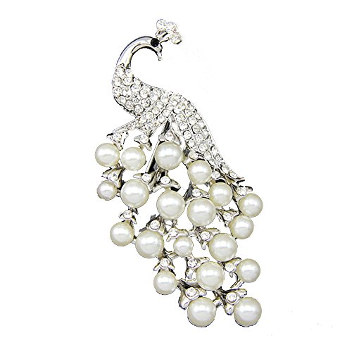 Krystal Suyi 18K Peacock Brooch White Pearl Corsage Wedding Brooch Corsage Brooch P6