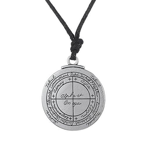 fishhook Wicca Key of Solomon Talisman for Good Luck Double Side Pendant Necklace
