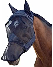 Horse Bug Prevention Net DetacHorse Fly Mask with Mesh Eyes Ears Protection, Extended Long Nose Net Cover Soft Lycra Fine Mesh Fly Mask - UV Protection for Horse Bug Prevention Net in Summer,Black