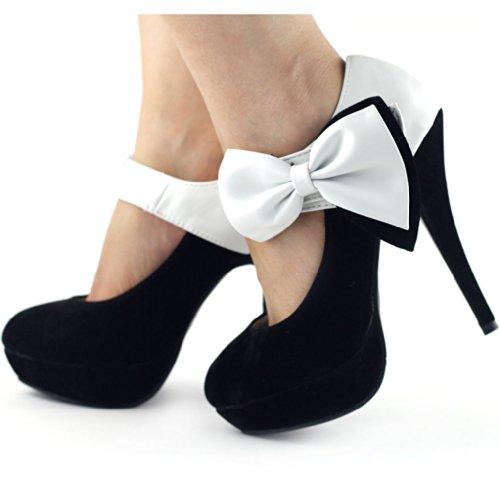 Mostrar historia Sexy Ladies proa tobillo correa estilete bombas zapatos de plataforma, LF30412 Negro - Noir - blanc