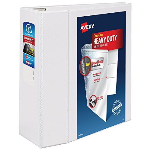 "Avery Heavy-Duty View Binder, 5"" One Touch Rings, 1,050-Shee"