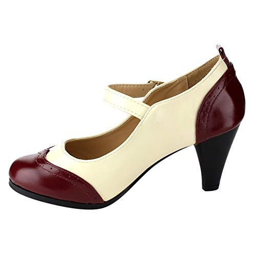 Two Pumps 2 Chloe Jane Women's Red Tone Toe Mary Round Chase Dora White OEYqwnvv