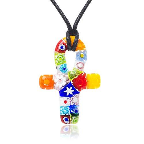 Chuvora Millefiori Murano Glass Multi-Colored Ankh Symbol Pendant 40 mm Adjustable Necklace 15