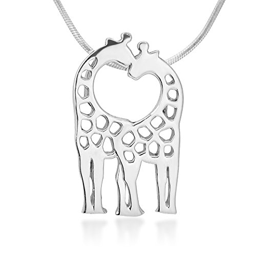 925 Sterling Silver Open Two Giraffe Couple in Love Heart Pendant Necklace for Women, 18