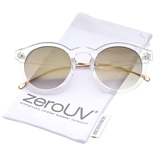 zeroUV - Transparent Metal Temple Keyhole Bridge Mirror Lens P3 Round Sunglasses 50mm (Clear-Gold / Gold - Leonard Illesteva Sunglasses